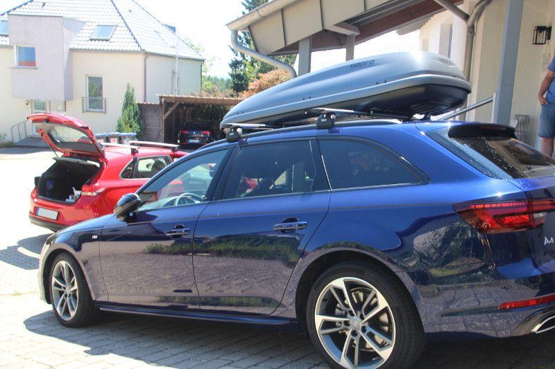 Dachbox auf einem Audi A4 Avant Kombi